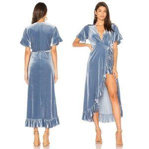 MISA Selina Blue Velvet Wrap Ruffle Maxi Dress XS